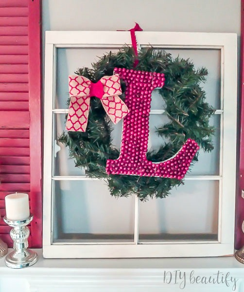 temporary berry monogram for Christmas decor