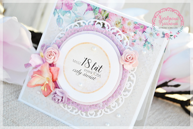 urodzinowa kartka kwiatowa, scrapbooking, handmade
