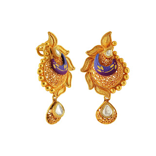 Earrings curated in sterling silver in brushed finish & detailed filigree, enamelling & kundan in a gold-plated tone by Izaara-min