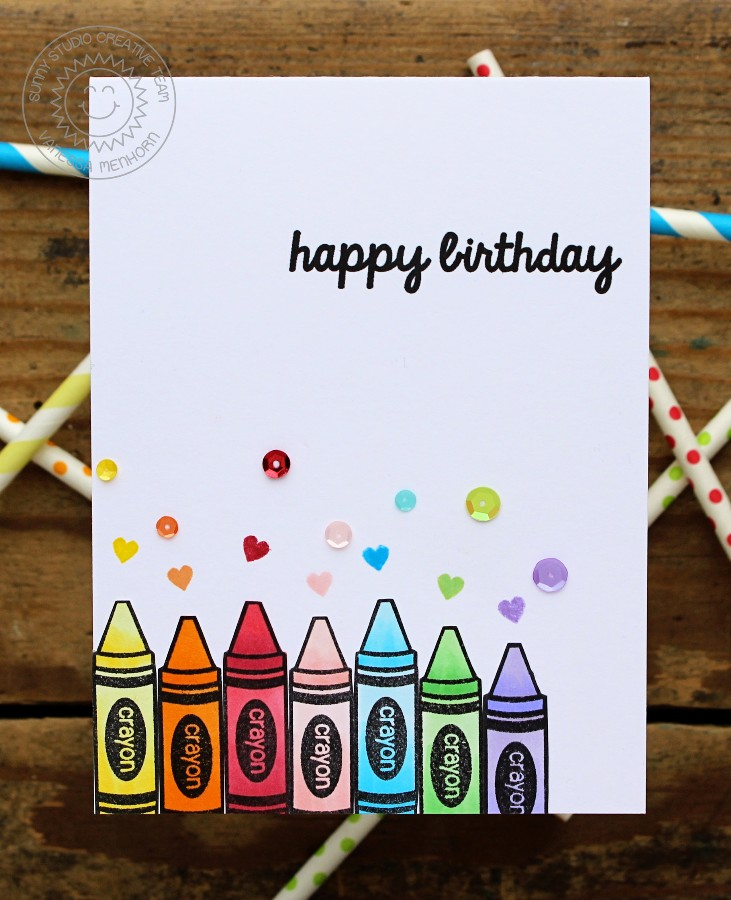 Sunny Studio Stamps School Time Rainbow Crayon Birthday Card By Vanessa Menhorn