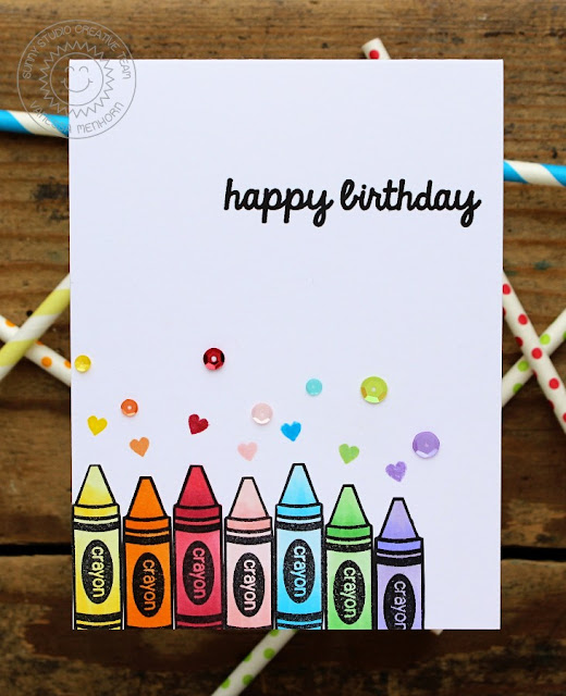 Sunny Studio Stamps: School Time Rainbow Crayon Birthday Card by Vanessa Menhorn.