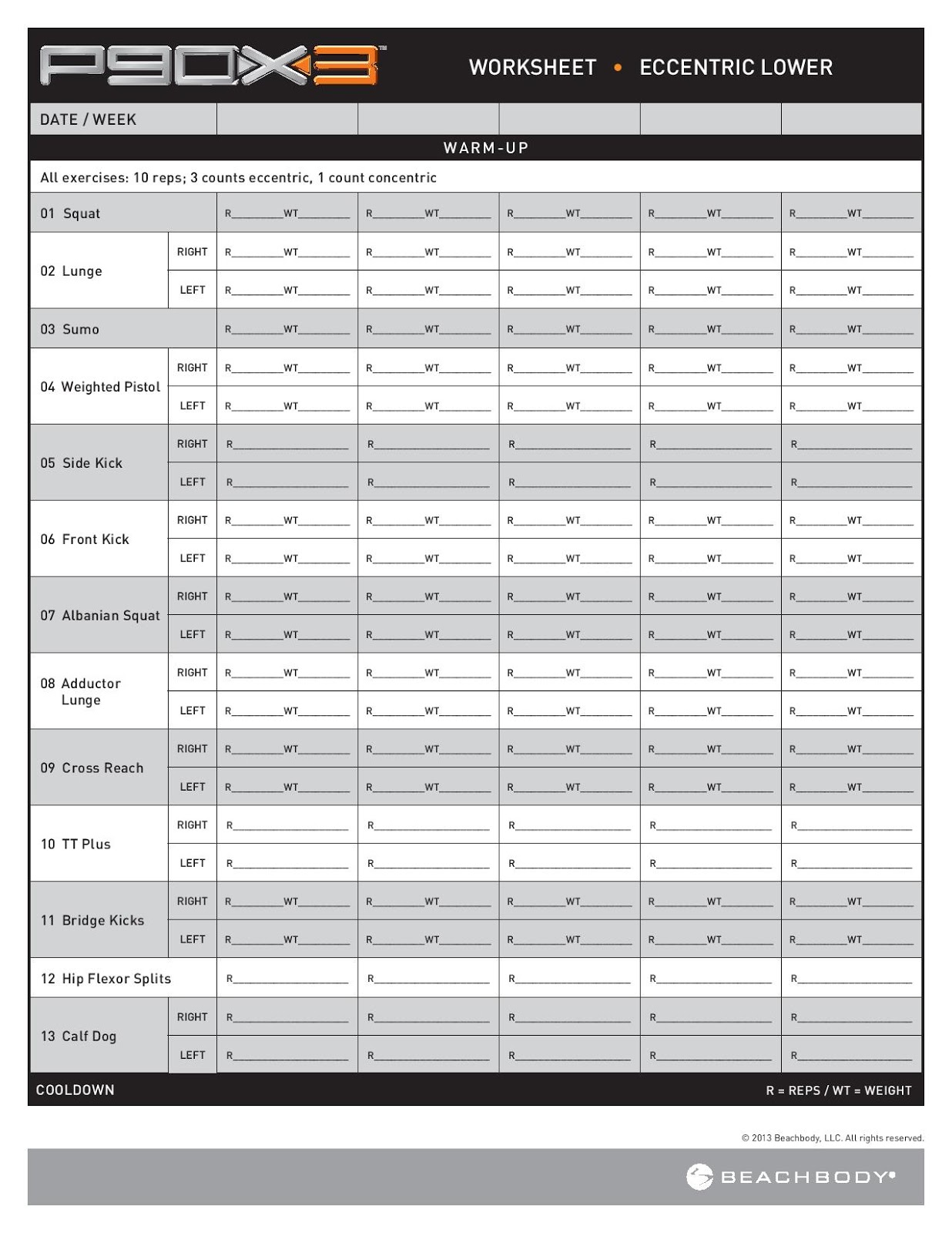 P90x3 Worksheets P90x3 Workouts