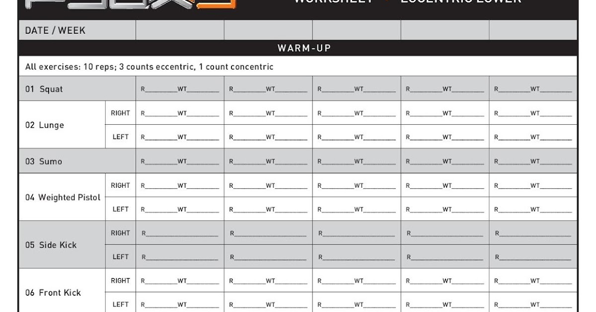 P90X3 worksheets ~ P90X3 WORKOUTS