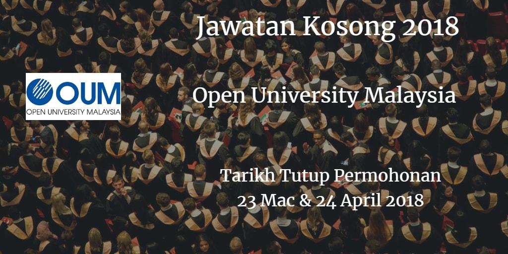 Jawatan Kosong Open University Malaysia 23 Mac & 24 April 2018