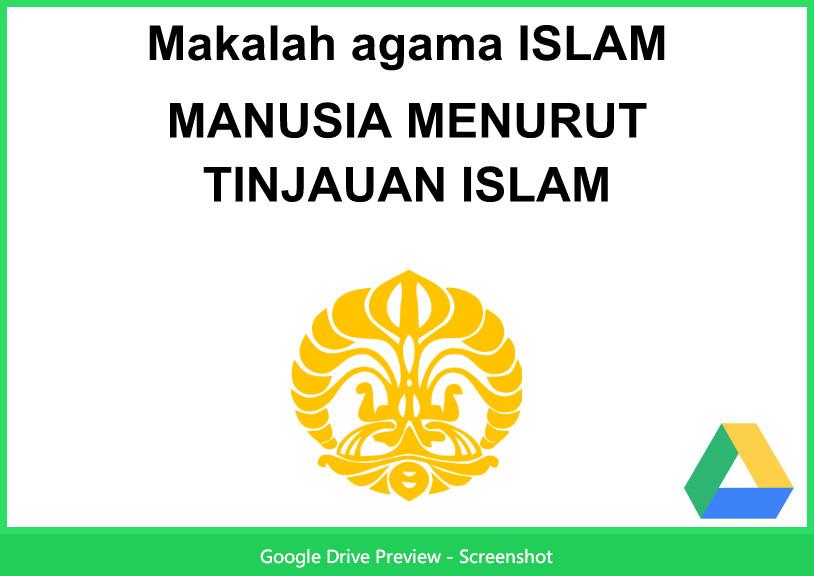 Contoh Makalah Agama Tentang Manusia Menurut Islam