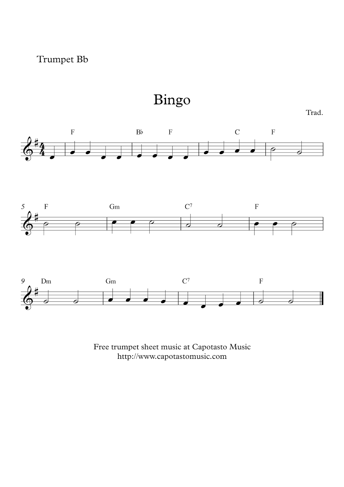 Free Easy Trumpet Sheet Music Bingo