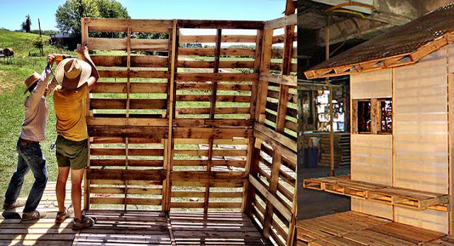 Palets de madera - muros construccion de casas
