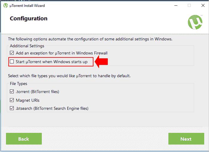 Desativando a inicialização do uTorrent na tela de instalação do programa