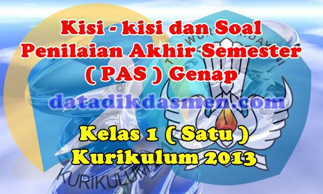 Soal PAS / UKK Kelas 1 Semester 2 Kurikulum 2013