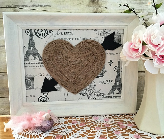 Vintage Paint and more - a vintage Valentine art made diy'd by upcycling  old thrift store items