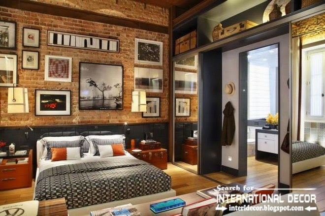 loft interior design and style in the home, loft bedroom interior with brick wall decorations