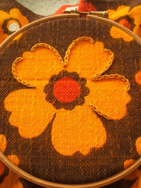 vintage fabric and embroidery stitches