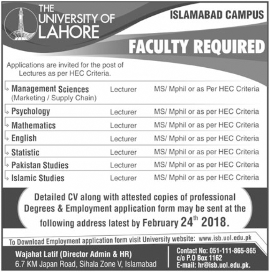 Jobs In The University Of Lahore, Islamabad Campus Feb 2018