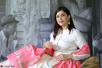 Mannara Chopra in Silky White Salwar Suit with Pink Chunni Latest Exclusive Pics March 2017 ~  008.JPG