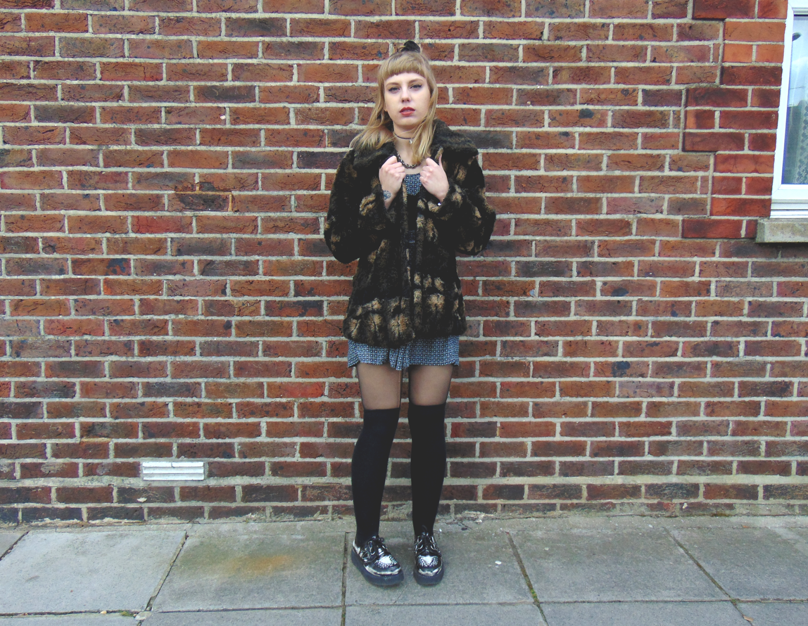 90's grunge inspired outfit, 90's grunge style fashion, knee high socks over tights, underground creepers, faux fur coat, babydoll dress, alternative fashion, alternative style