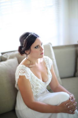 bride before wedding ceremony in detailed gown