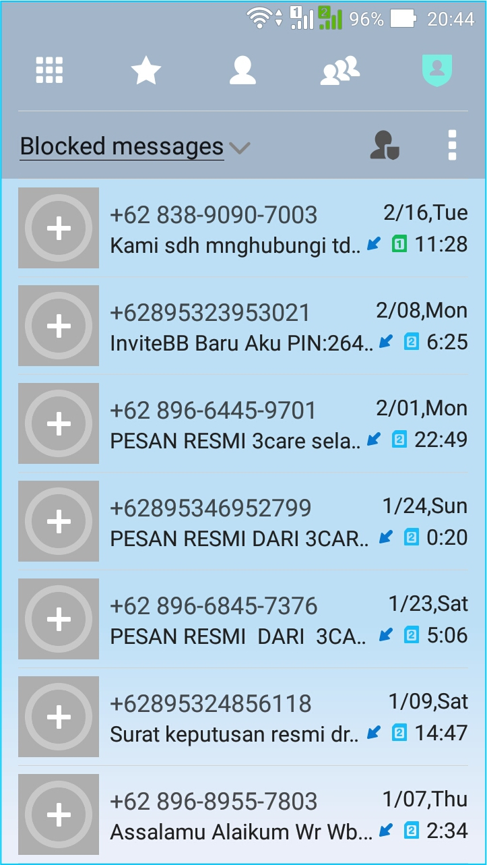 Blok SMS Penipuan - list blocked SMS