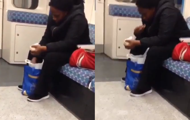 Video: Nigerian woman swallowing akpu on London train goes viral