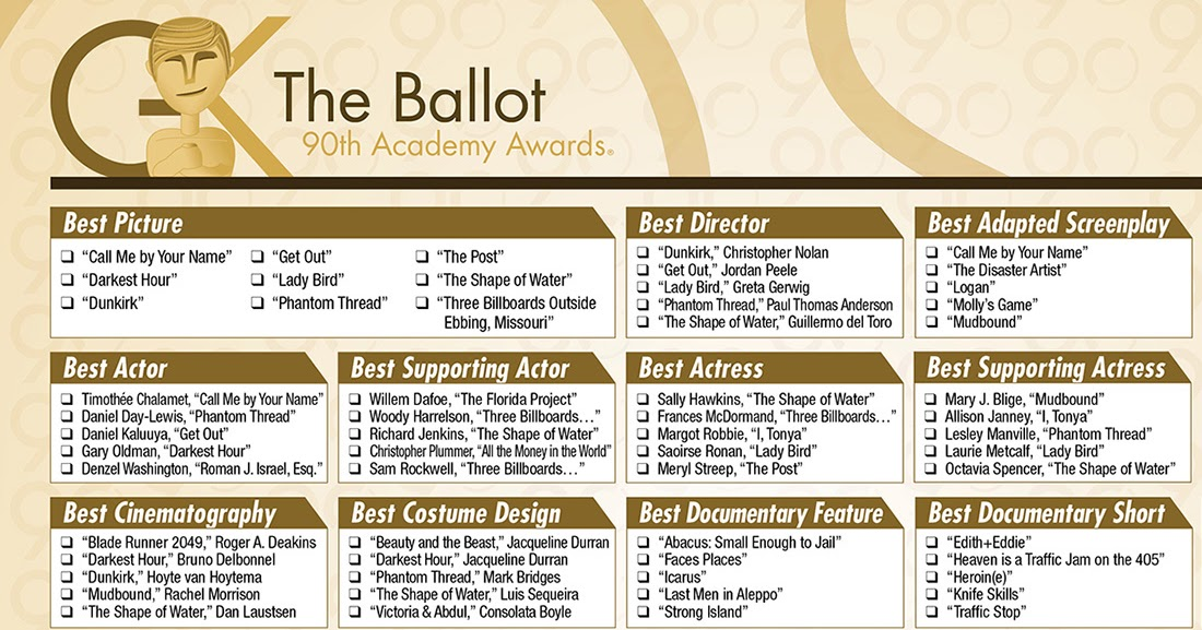 Oscars 2018 download our printable ballot the gold - Academy awards 2017 download ...
