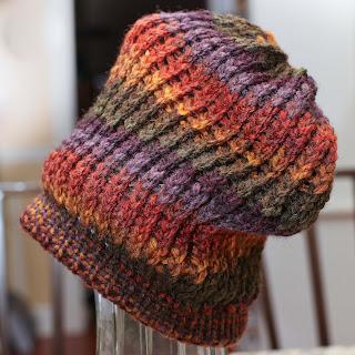 Loom knit harvest beanie slouch hat pattern free