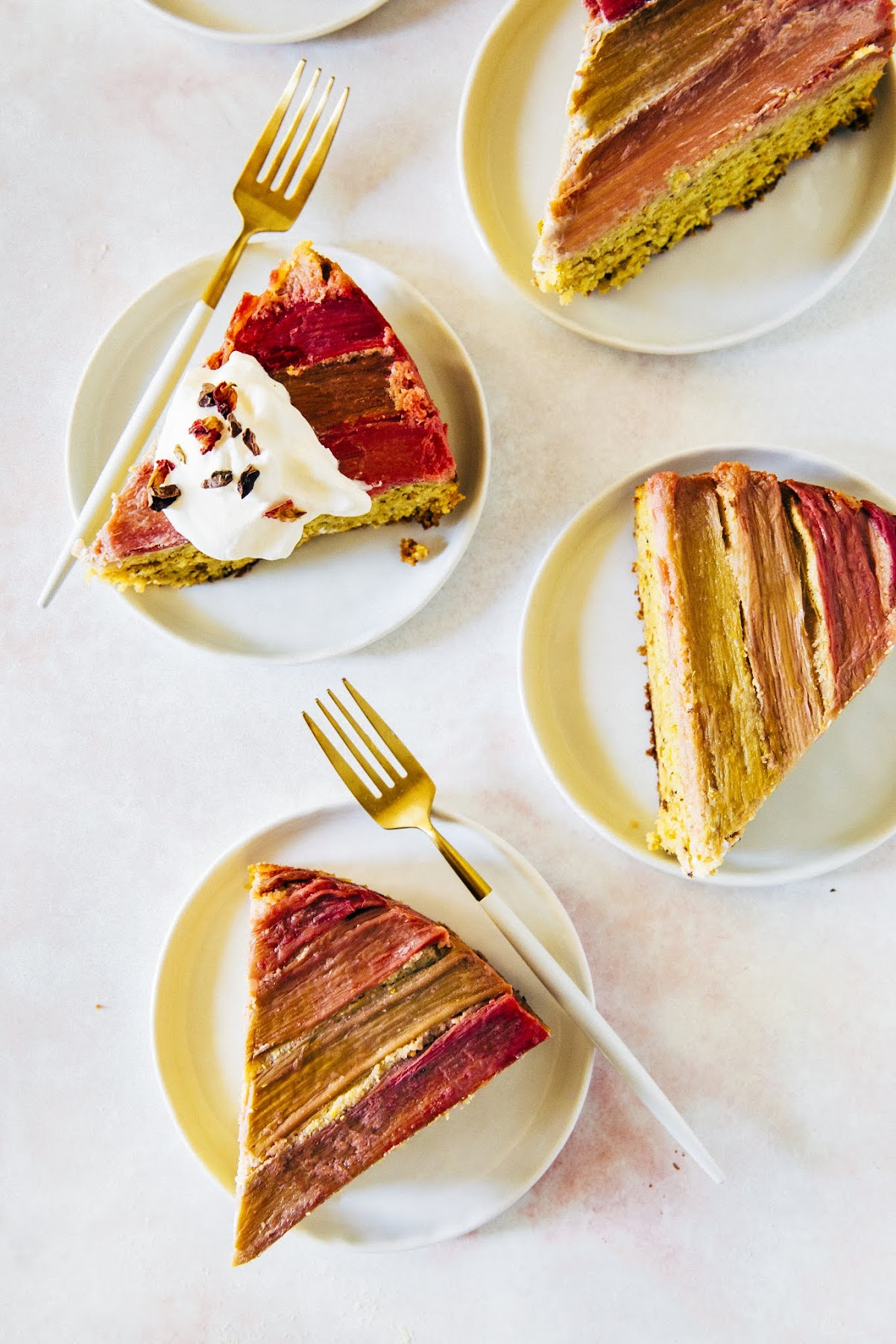 pistachio, rose water, and rhubarb semolina cake