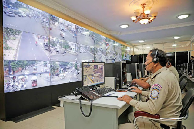 Authorities monitor footage from newly installed surveillance cameras in Phnom Penh. Photo supplied