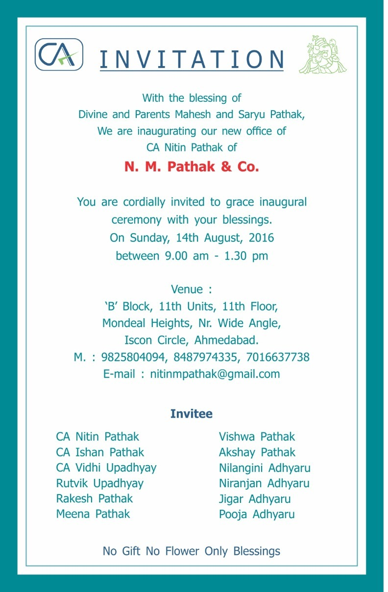 CA NITIN PATHAK AHMEDABAD CA Nitin Pathak Inauguration of New
