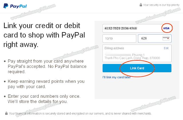 Điền thông tin thẻ Visa Prepaid để liên kết tài khoản Paypal