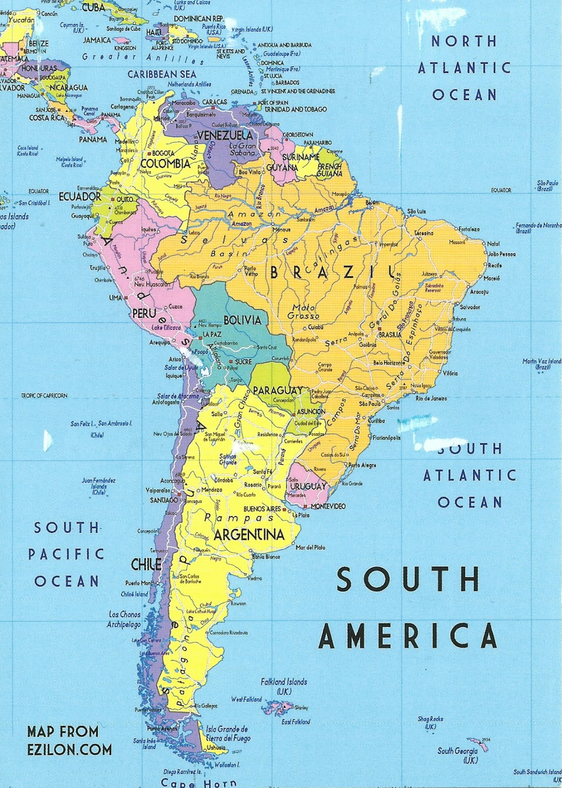 MY POSTCARD-PAGE: ARGENTINA ~ South America Map ~ on