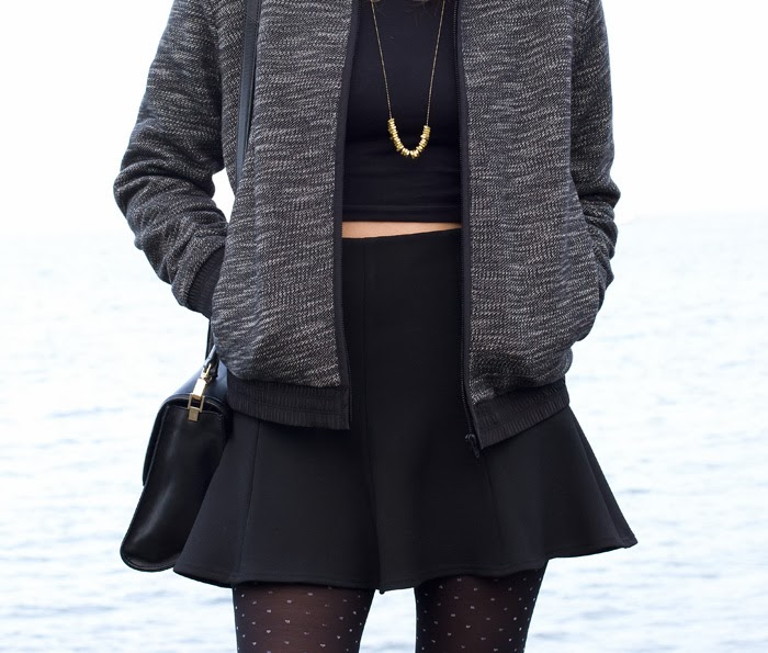 Vancouver Fashion Blogger, Alison Hutchinson, i wearing a T by Alexander Wang Hooded Jacket, American Apparel Crop Top, Zara skater skirt, Kate Spade Bag, Olivia Solie Necklace, and Zara black Booties
