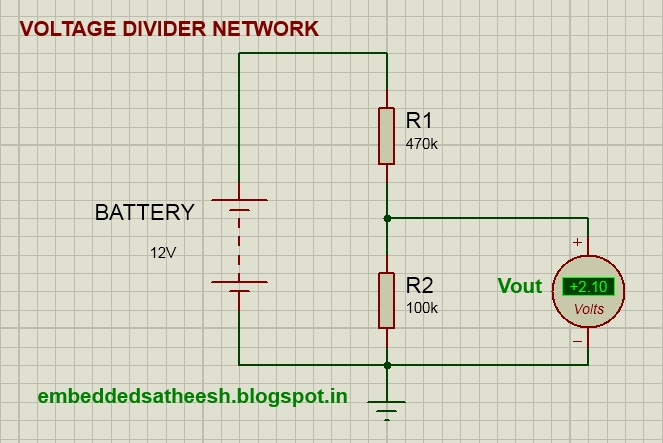 Pwm Solar Charge Controller Circuit Diagram 1998 Jeep Wrangler Tj Wiring Using Pic16f877a Simple Embedded Solutions Figure 1 Voltage Divider Network