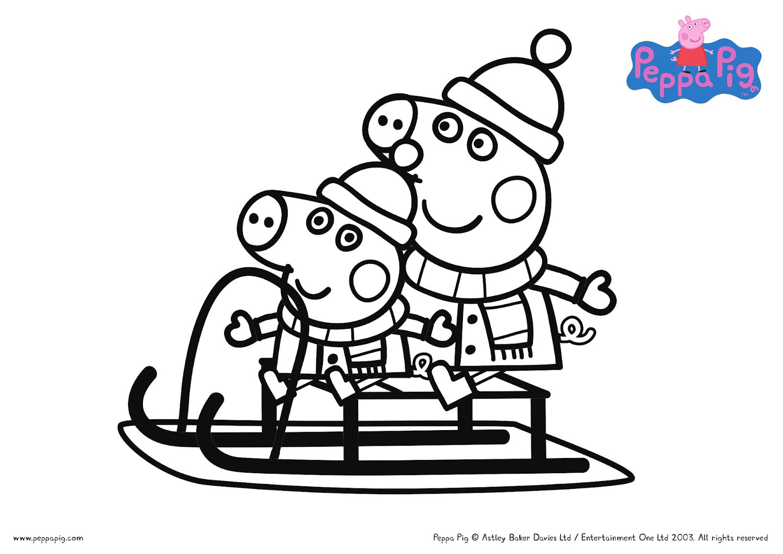 Christmas with Peppa Pig FREE Printable Coloring Sheets