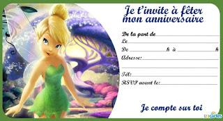 Carte invitation fée clochette anniversaire à imprimer