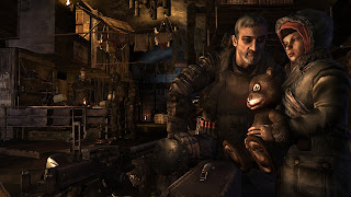 A man and a young boy sit together in a settlement deep beneath Moscow, from Metro 2033
