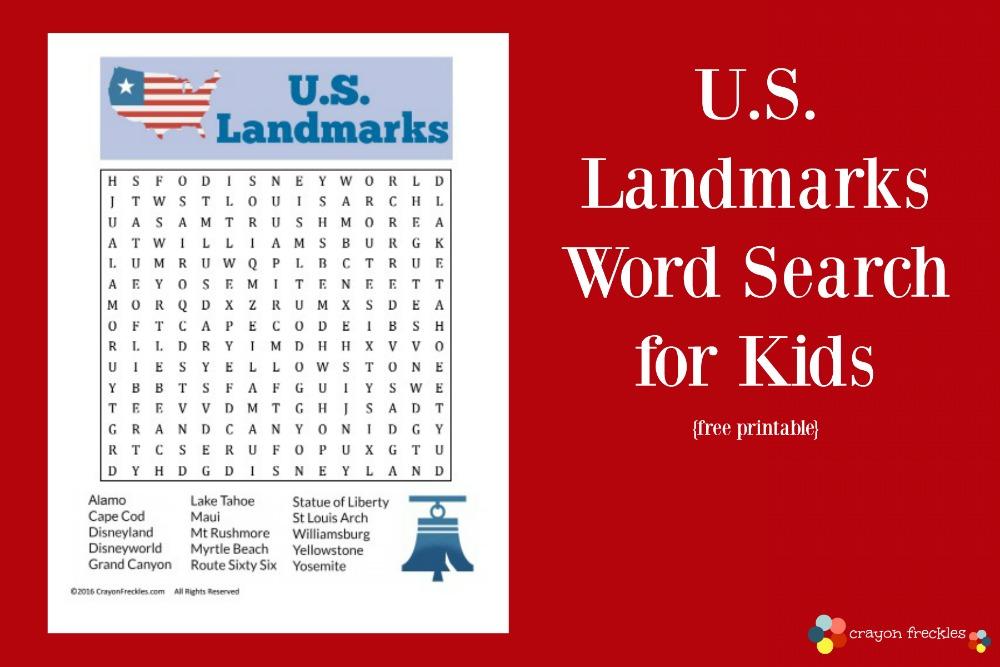 Crayon Freckles: U.S. Landmarks Word Search for Kids {free printable}