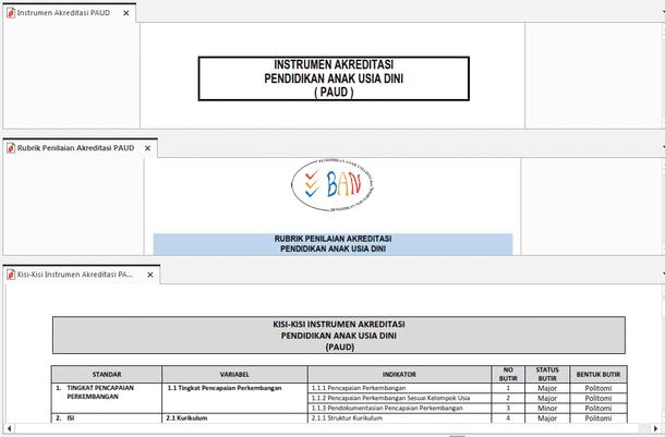 Instrumen, Rubrik Penilaian dan Kisi-Kisi Akreditasi PAUD dan PNF