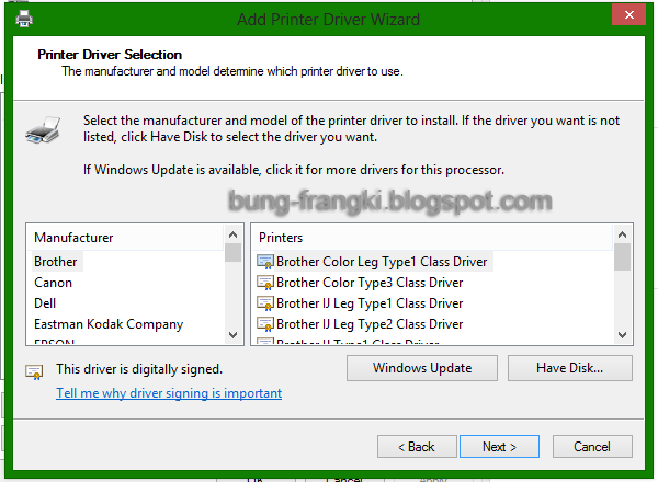 Install printer di Windows