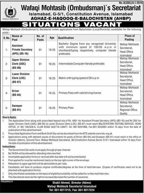 Government Jobs in Wafaqi Mohtasib Secretariat Jobs in Islamabad