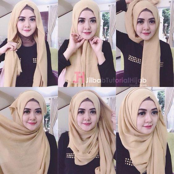 Kumpulan Gambar Tutorial Cara Memakai Hijab Simple Sehari-hari