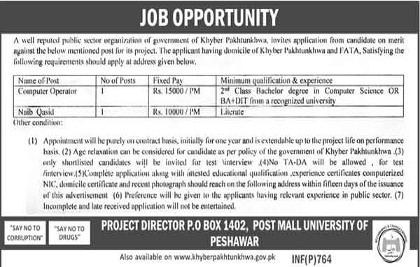 Public Sector Organization Po Box 1402 Peshawar Jobs