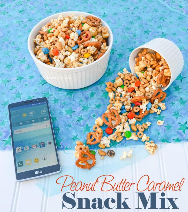 Peanut Butter Caramel Snack Mix #DataAndAMovie AD #recipe