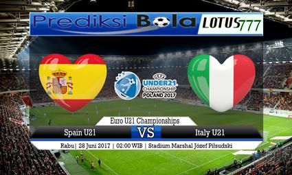 Prediksi Pertandingan antara Spain U21 vs Italy U21 28 Juni 2017