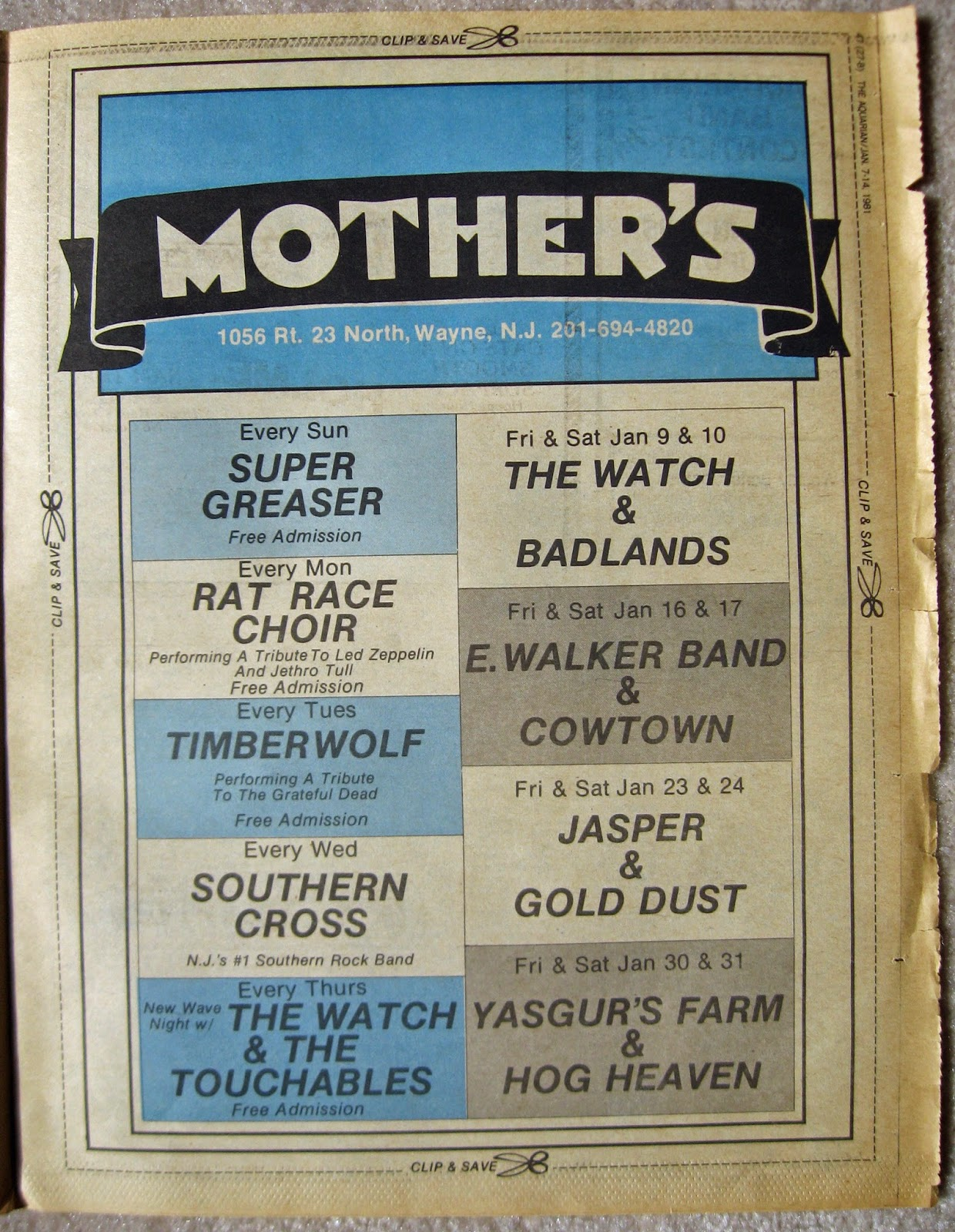 Mother's band line up January 1981
