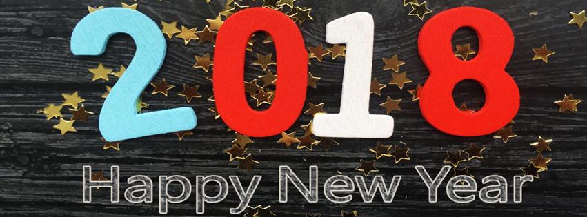 Ảnh bìa chữ Happy New Year 2018 HD cực đẹp Facebook