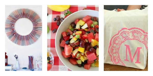 4th of July wreath, rainbow fruit salad, tween paint craft tote bags