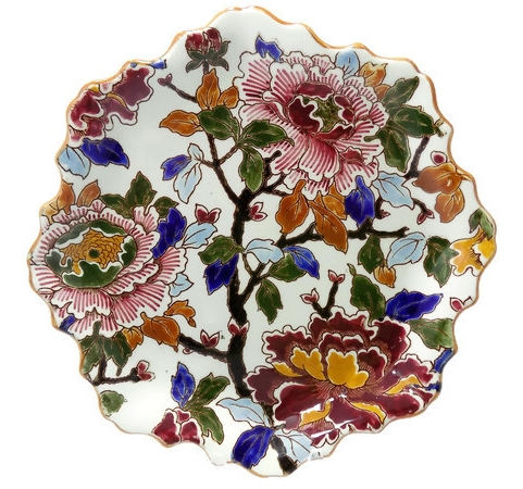 Gien Enameled Peonies French Vintage Faience Dish