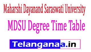 Maharshi Dayanand Saraswati University MDSU Degree Time Table 2018