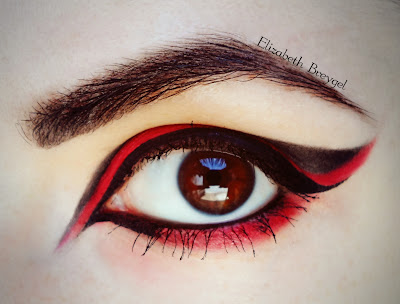 red make up, eagle make up, gothic make up