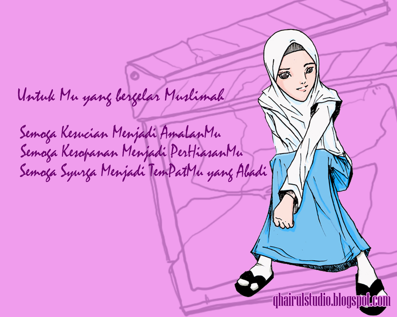 Gambar Wallpaper Kartun Hijab Kampung Wallpaper