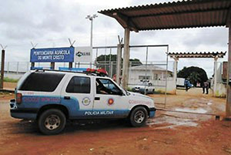 Undated file picture released by the Secretaria de Justica e Cidadania (SEJUC) of the northern Brazilian state of Roraima shows the entrance gate to the Agrícola de Monte Cristo Penitentiary